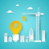 Creatief Idee die met Crane Places een Stuk van Gloeilampenidee plannen Stock Fotografie