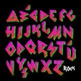 Creatief kleurrijk alfabet, rotsstijl vector illustratie