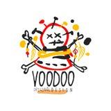 Creatief kleurrijk embleemmalplaatje met abstract hoofd met naalden voor Voodoo magische winkel Spiritual of vodun magisch concep vector illustratie