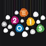 Creatief kleurrijk nieuw jaar 2015 begroetend ontwerp met kringloopsymboolthema Stock Afbeeldingen