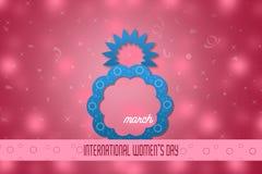 Creatief 8 Maart-ontwerp met de internationale achtergrond van de vrouwen` s dag Het symbool van de vrouwen` s dag Stock Afbeelding