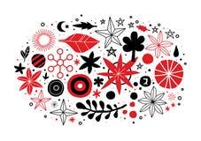 Creatief malplaatje met bloemen en abstracte hand getrokken elementen Kan voor reclame, grafisch ontwerp worden gebruikt royalty-vrije illustratie