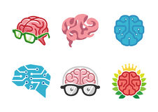 Creatief Menselijk Brain Geek Symbol Design Stock Afbeeldingen