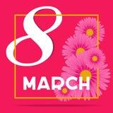 Creatief minimalistic ontwerp voor internationale vrouwen` s dag op 8 van maart met nummer 8 en tulpensymbool op rode achtergrond vector illustratie