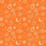 Creatief naadloos patroon met hand getrokken vruchten Stock Illustratie