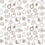 Creatief naadloos patroon met hand getrokken vruchten Royalty-vrije Illustratie