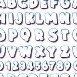 Creatief naadloos patroon met het van letters voorzien alfabet Stock Foto