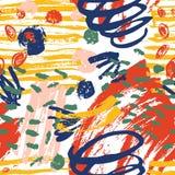 Creatief naadloos patroon met levendige verfvlekken, tekens, sporen, gekrabbel op witte achtergrond Moderne vector vector illustratie