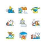 Creatief, online winkelend, kortingen, ontwerp, financiën, veiligheid van betaling, beheer stock illustratie