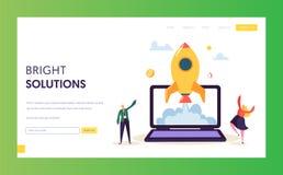 Creatief Opstarten Rocket Launch Landing Page Ontwikkeling van het het Begin Succesvolle Project van het bedrijfsmensenkarakter i stock illustratie
