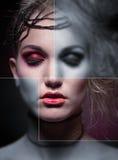 Creatief portret van vrouw in make-up royalty-vrije stock afbeelding