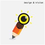 Creatief potlood en gloeilampenontwerp met visieconcept vlak Royalty-vrije Stock Afbeelding