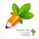 Creatief potlood met groene bladeren Royalty-vrije Stock Afbeelding