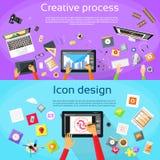 Creatief Proces Digitaal Logo Icon Designer Royalty-vrije Stock Foto