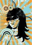 Creatief retro meisje vector illustratie