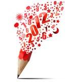 Creatief rood potlood 2012 jaar. Stock Foto's