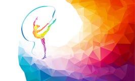 Creatief silhouet van gymnastiek- meisje Art Royalty-vrije Stock Afbeeldingen