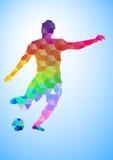 Creatief silhouet van voetbalster Stock Fotografie