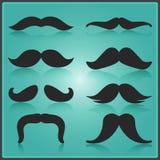 Creatief Snor Vectorontwerp Het winkelen markeringen en pictogrammen Minimale Geïsoleerde Movember-Illustratie EPS10 Stock Afbeeldingen