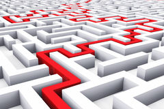 Weg over eindeloos labyrint Stock Foto's
