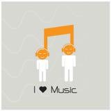 Creatief van het het tekenpictogram en silhouet van de muzieknota mensensymbool mus Royalty-vrije Stock Foto's