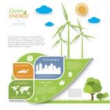Creatief vectorinfographic-ontwerp met windturbines Stock Afbeelding