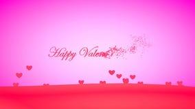 Creatief vliegend hart van de Dag van woord 'Gelukkig Valentine ' stock video
