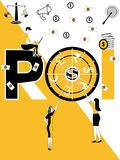 Creatief woordconcept ROI en mensen die dingen doen stock illustratie