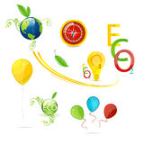 Creatieve aard en eco geplaatste symbolen Stock Foto
