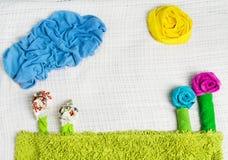 Creatieve aardachtergrond van handdoeken, kleding Stock Afbeelding