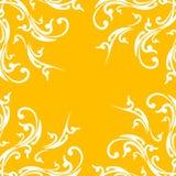 Creatieve abstracte achtergrond met bloemenelement op oranje kleur Stock Afbeelding