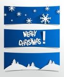 Creatieve Abstracte Vrolijke Kerstmisbanners Stock Afbeeldingen