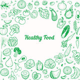 Creatieve achtergrond met hand getrokken vruchten en groenten Vector Illustratie