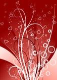 Creatieve achtergrond met rollen, cirkels en hartvormen, vect royalty-vrije illustratie