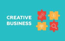Creatieve bedrijfsconceptenachtergrond Oplossing en succes, strategie royalty-vrije illustratie
