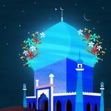 Creatieve blauwe Moskee voor Islamitische Festivalviering Royalty-vrije Stock Afbeelding