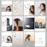 Creatieve brochuremalplaatjes met kleurrijke elementen, rechthoeken, gradi?ntachtergronden Dekkingsontwerpsjablonen voor vlieger stock illustratie