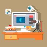 Creatieve bureauwerkruimte van blogger met elementen, voorwerpen Vlakke vector Royalty-vrije Stock Foto