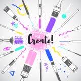 Creatieve de hulpmiddelenillustratie van de motivatiekunst, radiaal kader vector illustratie