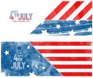Creatieve die Uitnodigingsvlieger met blauwe en rode borstelslagen wordt verfraaid voor Amerikaanse vlag vierde van Juli, de Part Royalty-vrije Stock Fotografie