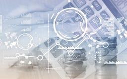 Creatieve digitale abstracte bedrijfsinterfaceachtergrond Het het financi?le diagram en pictogram van de grafiekgrafiek op het vi stock foto