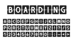 Creatieve doopvont in de stijl van de luchthavenraad, luchtvaartlijn timeboard Letters en getallen in uitstekende stijl, het alfa stock afbeeldingen