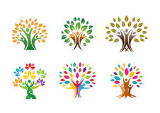 Creatieve Drie Mensenboom Logo Design Illustration Stock Foto