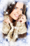 Creatieve foto van de wintervrouw stock afbeeldingen
