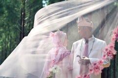 Creatieve fotospruit van een malay houdende van paarbruid en een bruidegom royalty-vrije stock afbeeldingen