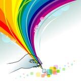 Creatieve Gedachten - de Abstracte Reeks van het Potlood van de Regenboog Stock Foto's