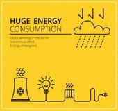 Creatieve gele vectorelektriciteit als achtergrond Zaken, slank ontwerpidee Royalty-vrije Stock Fotografie