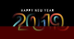 Creatieve Gelukkige Nieuwjaar 2019 Tekst op Abstracte moderne dynamische achtergrond royalty-vrije stock afbeelding