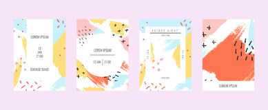 Creatieve geometrische kleurrijke achtergrond met patronen collage Ontwerp voor drukken, affiches, kaarten, enz. stock fotografie