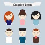 Creatieve geplaatste de mensenpictogrammen van het bureauteam Stock Afbeelding